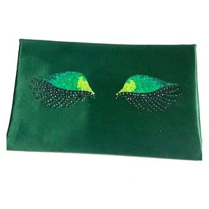 Green Sequined Eyes Clutch